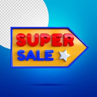 Super sprzedaż 3d makieta banner izolowany na niebiesko