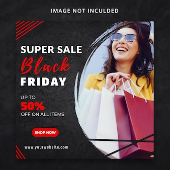 Super sprzedaż czarny piątek szablon mediów społecznościowych