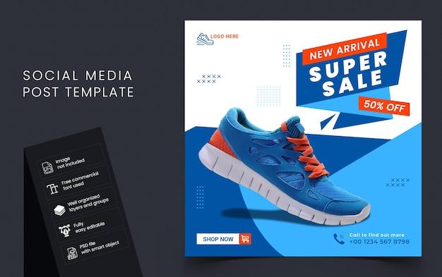 Super sprzedaż szablon transparent post w mediach społecznościowych