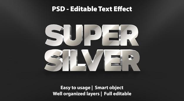 Super srebrny szablon efektu tekstowego