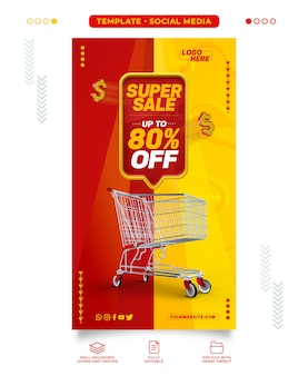 Supermarketowy model super sprzedaży w mediach społecznościowych z rabatem do 80%