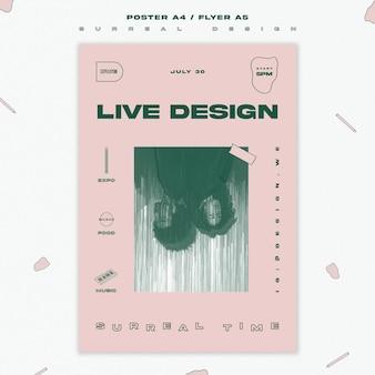 Surrealistyczny plakat szablon projektu