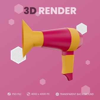 Suszarka do włosów renderowania 3d z izolowanym tłem
