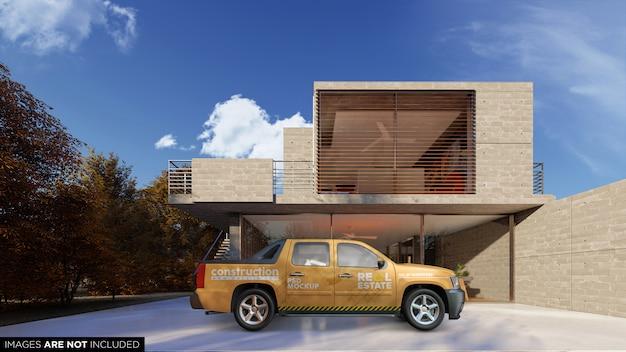 Suv van vehice zewnętrzna makieta psd przed budynkiem