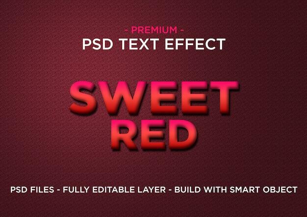 Sweet red premium photoshop psd styl efekt tekstowy