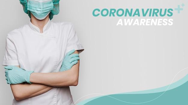 Świadomość koronawirusa wspierająca szablon lekarzy