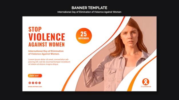 Świadomość przemocy wobec kobiet transparent ze zdjęciem