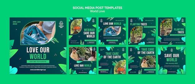 Świat miłości szablon projektu mediów społecznościowych