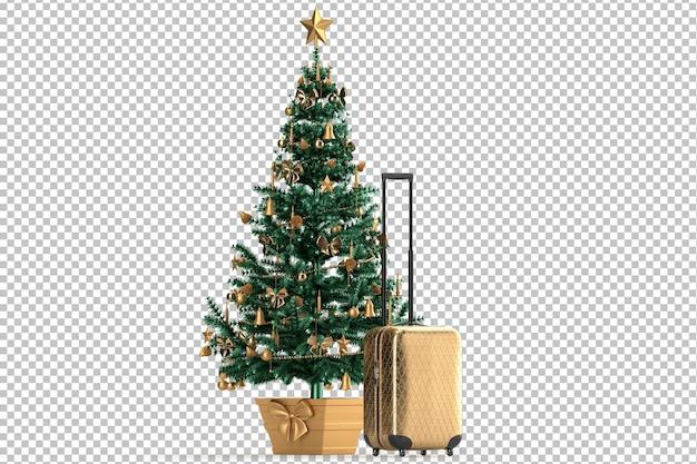Świąteczna choinka i walizka. koncepcja wakacje wakacje. pojedynczo na białym. renderowanie 3d