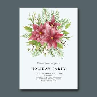 Świąteczna karta zaproszenie na wakacje z akwarelą świąteczną dekoracją liści