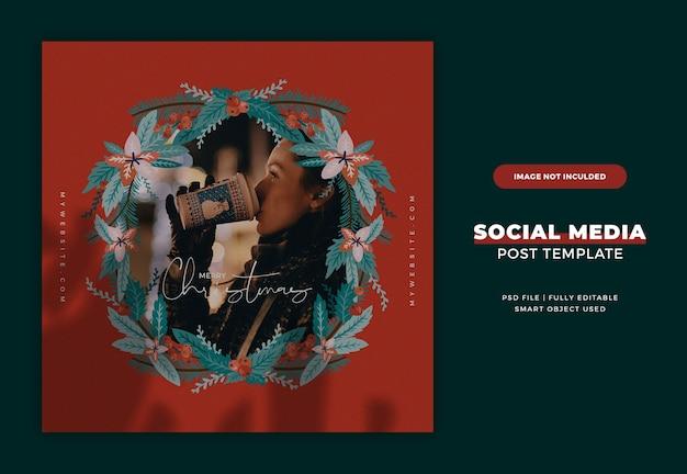 Świąteczna kartka pocztowa instagram lub szablon banera