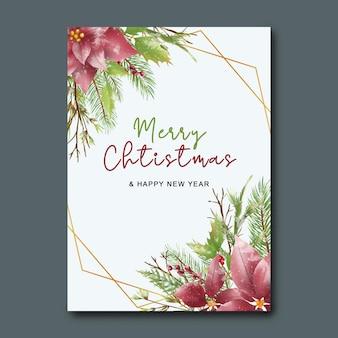 Świąteczna kartka z życzeniami z akwarelą świątecznych liści