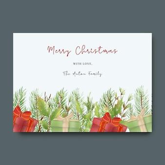 Świąteczna kartka z życzeniami z akwarelową świąteczną dekoracją liści
