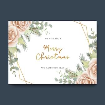 Świąteczna kartka z życzeniami z bukietem kwiatów róży w stylu akwareli