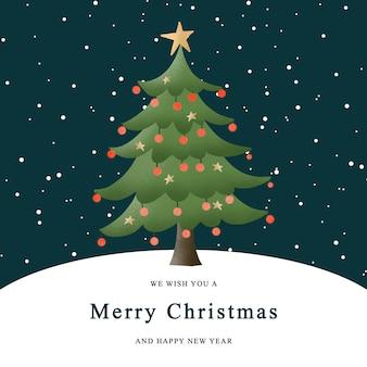 Świąteczna kartka z życzeniami z choinką w tle