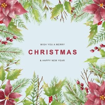 Świąteczna kartka z życzeniami z liśćmi świątecznymi w stylu akwareli