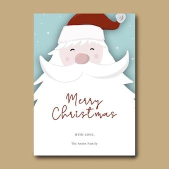 Świąteczna kartka z życzeniami z mikołajem w tle