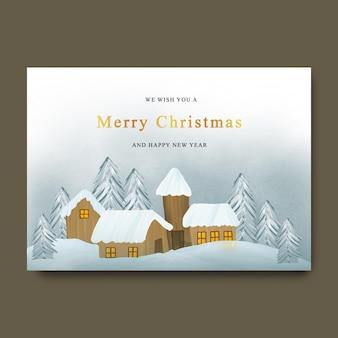 Świąteczna kartka z życzeniami z tłem krajobrazu śniegu i domem w stylu akwareli