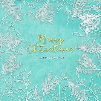 Świąteczna kartka z życzeniami z tłem szkicu liści sosny