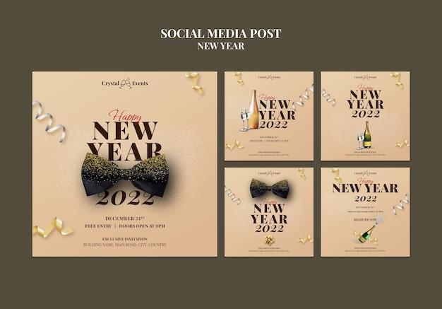 Świąteczna kolekcja postów na instagramie na nowy rok