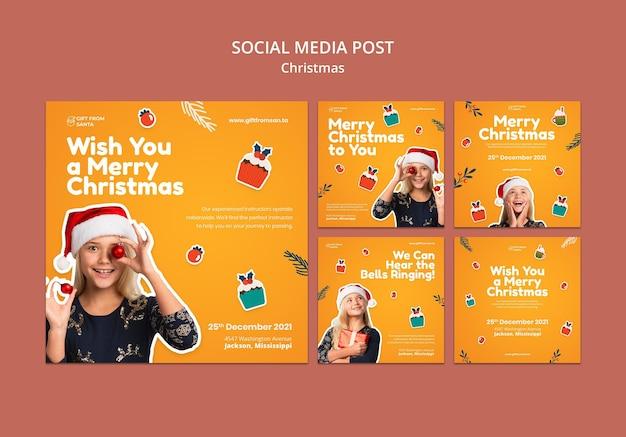 Świąteczna kolekcja postów na instagramie świątecznym