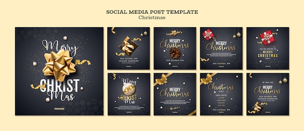 Świąteczna kolekcja postów na instagramie