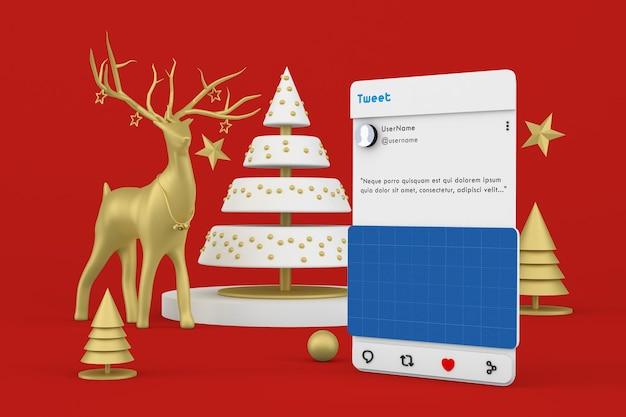 Świąteczna makieta postów w mediach społecznościowych