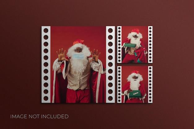Świąteczna makieta ramki na zdjęcia