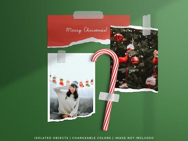 Świąteczna makieta świąteczna ściana moodboard zgrywanie rozdarty papier ramka na zdjęcia karta zestaw kolaży izolat