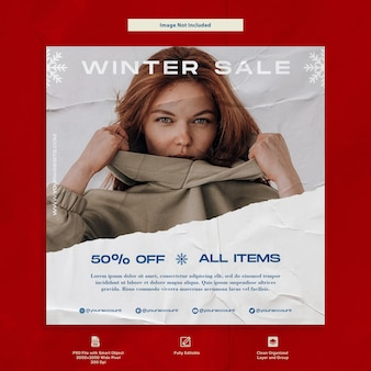 Świąteczna promocja sprzedaży mody i reklamy projektowanie szablonów w mediach społecznościowych
