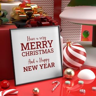 Świąteczna ramka makieta realistyczny prezent z trzciny cukrowej prezent z boku 3d