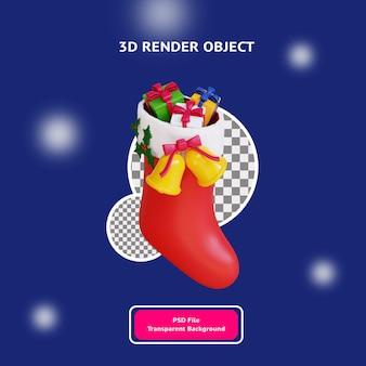 Świąteczna skarpeta 3d z obiektem ilustracyjnym prezentowym renderowanym przezroczystym tłem