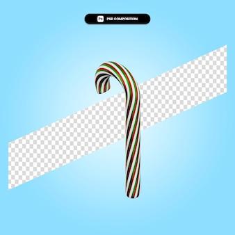 Świąteczna trzcina cukrowa 3d render ilustracja na białym tle