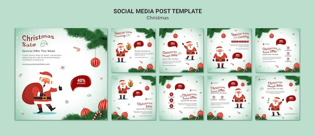 Świąteczna wyprzedaż szablon postu w mediach społecznościowych