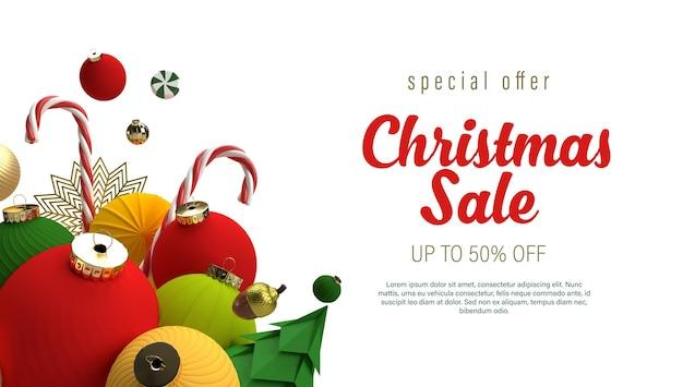 Świąteczna wyprzedaż transparent z ozdobami choinkowymi czerwonymi i złotymi kulkami, gwiazdami i cukrową laską