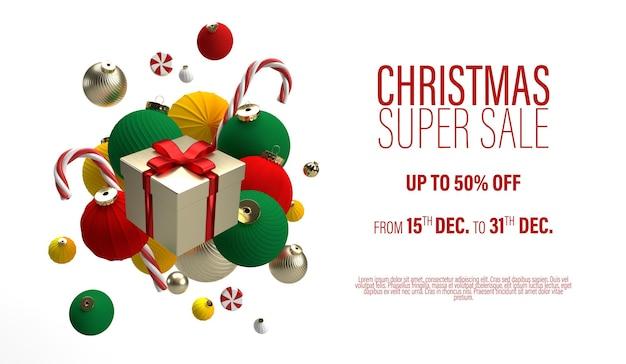 Świąteczna wyprzedaż transparent z prezentem w centrum czerwono-złote kulki na białym tle