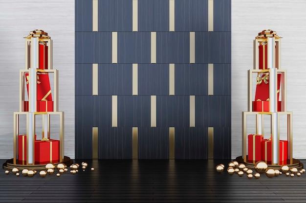Świąteczne dekoracje z pudełkami po obu stronach