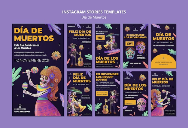 Świąteczne historie w mediach społecznościowych dia de muertos