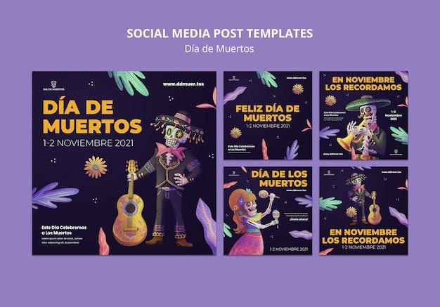 Świąteczne posty w mediach społecznościowych dia de muertos