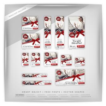 Świąteczne zakupy i sprzedaż zestaw bannerów