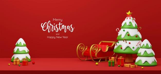 Świąteczny baner pocztówka scena choinki z saniami i prezentami, ilustracja 3d