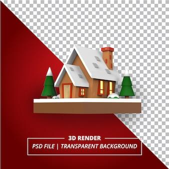 Świąteczny dom 3d renderowany na przezroczystym tle