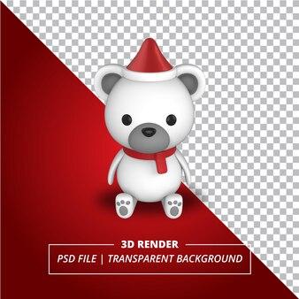 Świąteczny kapelusz niedźwiedzia polarnego 3d na przezroczystym tle