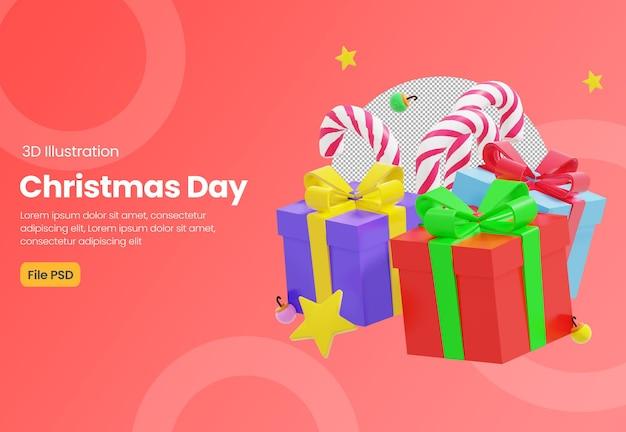 Świąteczny motyw 3d ilustracja z pudełkiem na prezent