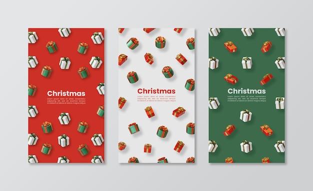 Świąteczny szablon opowieści w mediach społecznościowych z prezentem 3d renderowania ilustracji