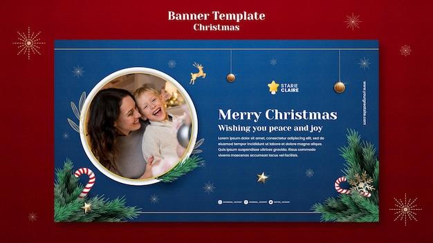 Świąteczny szablon poziomy baner świąteczny