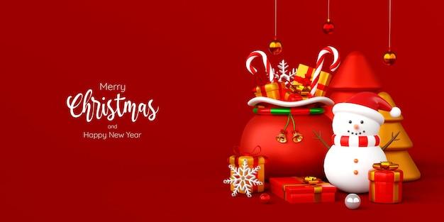 Świąteczny sztandar bałwana z torbą świąteczną i prezentami, ilustracja 3d
