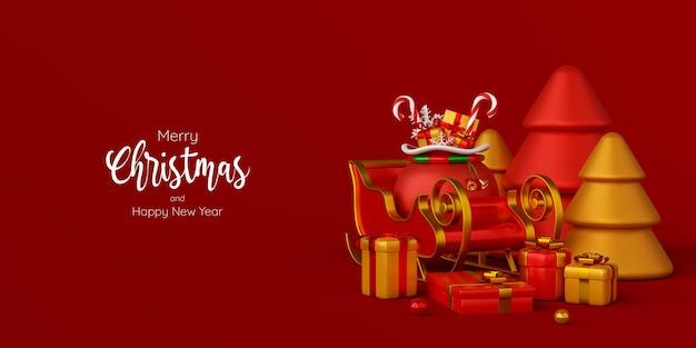 Świąteczny sztandar sań z prezentem świątecznym, ilustracja 3d