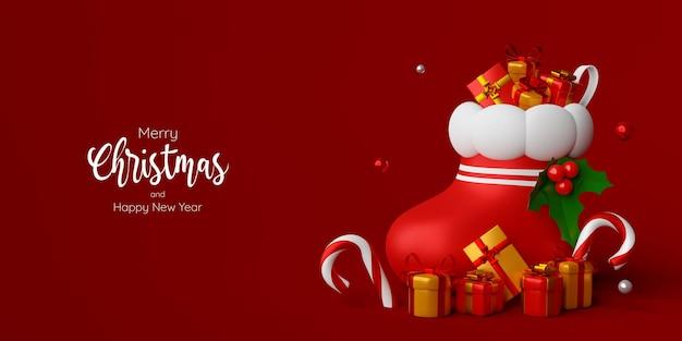 Świąteczny sztandar skarpety świątecznej z prezentem, ilustracja 3d