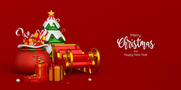Świąteczny sztandar torby świątecznej i sań na czerwonym tle, ilustracja 3d